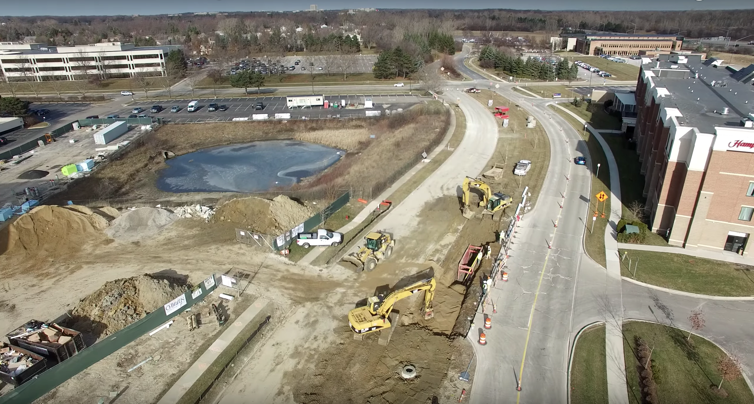 A drone captures the Site Development Industry's job site for 888 Big Beaver