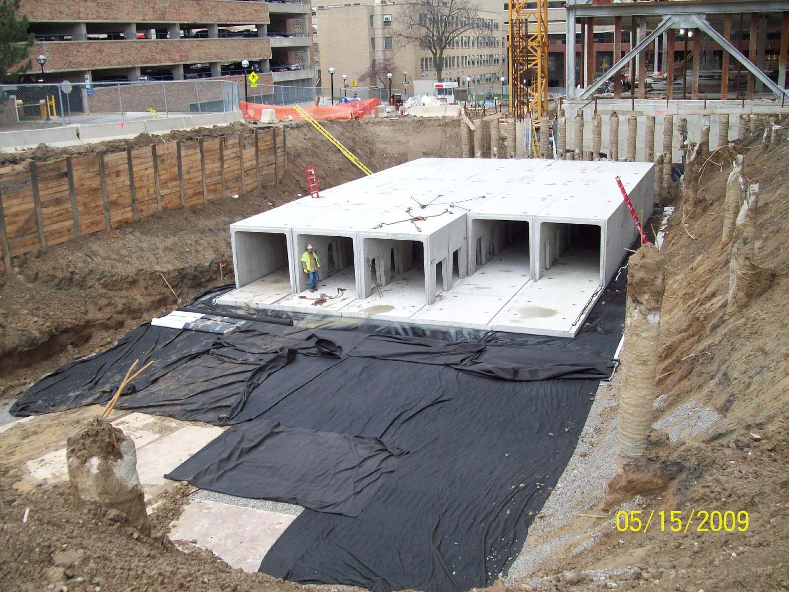 Site Development, Inc. employees work on the C. S. Mott Hospital job site.
